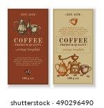 packaging design for coffee... | Shutterstock .eps vector #490296490