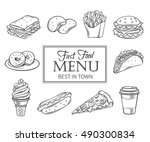 vector hand drawn icons fast... | Shutterstock .eps vector #490300834