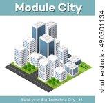 isometric perspective city | Shutterstock . vector #490301134