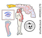 set of fashion patches elements.... | Shutterstock .eps vector #490301170