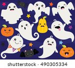 cute halloween ghosts and ghouls   Shutterstock .eps vector #490305334