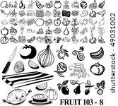fruit set of black sketch. part ... | Shutterstock .eps vector #49031002