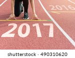 athlete on starting line... | Shutterstock . vector #490310620
