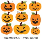 Stock vector halloween pumpkins jack o lanterns 490313890