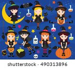 halloween witches | Shutterstock .eps vector #490313896