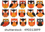 halloween owls orange | Shutterstock .eps vector #490313899