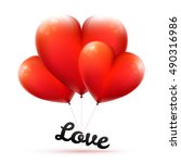 red balloon in form of heart... | Shutterstock .eps vector #490316986