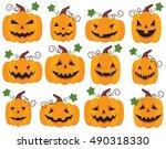 halloween pumpkin jack o... | Shutterstock .eps vector #490318330