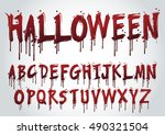 halloween splash alphabet set... | Shutterstock .eps vector #490321504