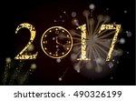 vector 2017 with gold clock. | Shutterstock .eps vector #490326199