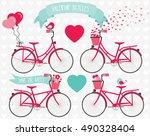 valentine bicycles   Shutterstock .eps vector #490328404