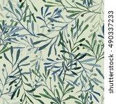 watercolor imprints of olive... | Shutterstock . vector #490337233