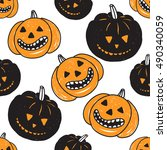 halloween seamless pattern with ... | Shutterstock .eps vector #490340059