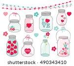 valentine mason jars | Shutterstock .eps vector #490343410