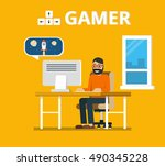 man sitting at home behind his... | Shutterstock .eps vector #490345228