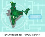 india map as a circuit board... | Shutterstock .eps vector #490345444