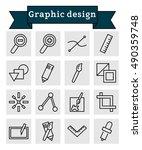 vector black line graphic... | Shutterstock .eps vector #490359748