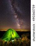 Tent On Mountain Summit At...