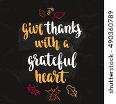 thanksgiving lettering. hand... | Shutterstock .eps vector #490360789