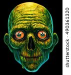 detailed zombie head  funny... | Shutterstock . vector #490361320
