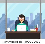 woman with laptop in office... | Shutterstock .eps vector #490361488