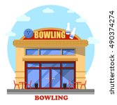 bowling club outdoor exterior... | Shutterstock .eps vector #490374274