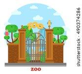 zoo entrance exterior outdoor... | Shutterstock .eps vector #490374286