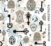 vintage wallpaper with keys ... | Shutterstock .eps vector #490379374