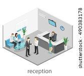 isometric interior of reception.... | Shutterstock . vector #490383178