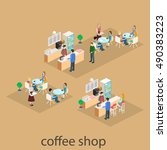 isometric interior of coffee... | Shutterstock . vector #490383223