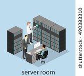 isometric interior of server... | Shutterstock . vector #490383310