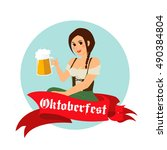 vector image of beer and girl... | Shutterstock .eps vector #490384804