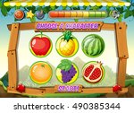 game template with fresh fruits ... | Shutterstock .eps vector #490385344
