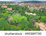 the vatican gardens are private ... | Shutterstock . vector #490389730