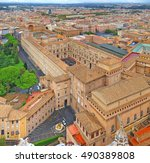 panoramic view of city of rome... | Shutterstock . vector #490389808