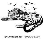 Vector Double exposure, Hand drawn jaguar for your design, wildlife concept   Shutterstock vector #490394194
