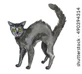 Stock photo halloween black cat hand drawn watercolor pictures 490394314