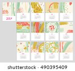 calendar 2017 with hand drawn... | Shutterstock .eps vector #490395409