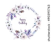 watercolor floral boho  flower... | Shutterstock . vector #490395763