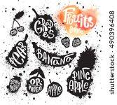 spray paint set of ink splatter ... | Shutterstock .eps vector #490396408