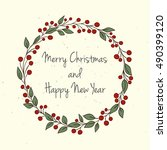 hand drawn christmas and new... | Shutterstock .eps vector #490399120