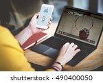 live stream video multimedia... | Shutterstock . vector #490400050