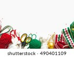 postcard with christmas decor.... | Shutterstock . vector #490401109