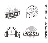 dj vector label or logo... | Shutterstock .eps vector #490401658