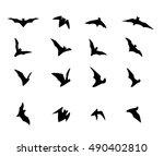 set of flying bat silhouette...   Shutterstock .eps vector #490402810