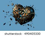 golden metal polygonal broken... | Shutterstock .eps vector #490405330