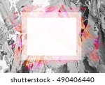 colorful  watercolor frame... | Shutterstock . vector #490406440