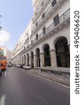 Small photo of ALGIERS, ALGERIA - SEPTEMBER 24, 2016: French colonial buildings at Algiers city center in Algiers, Algeria.Buildings are being renovated by Algerian government.