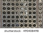 old rusty wood metal grid... | Shutterstock . vector #490408498
