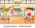 kitchen scene with girls and... | Shutterstock .eps vector #490412464